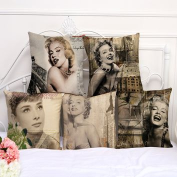Restore Ancient Ways Marilyn Monroe Printing Cotton Embrace Pillow Case Hertz Basis Bay Window By Pillow Case