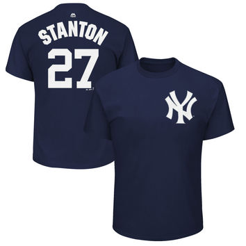 Giancarlo Stanton New York Yankees Majestic Name & Number T-Shirt – Gray