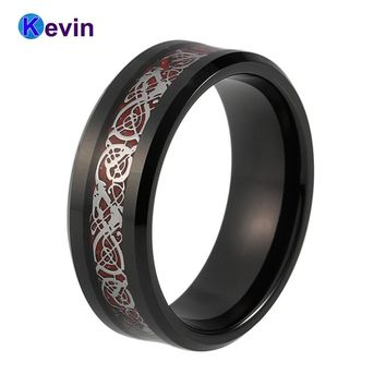 Black Ring Men Black Tungsten Band With Red Carbon Fiber And Silver Dragon Inlay