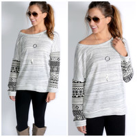 Soho Savannah Grey Aztec Printed Sweatshirt Pullover
