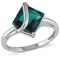 2.55 CT TGW Created Emerald Fashion Ring 10k White Gold
