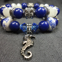 Indigo Blue Stone With Blue, White, and Silver Beaded Stacking Bracelet Boho Set With Seahorse Charm