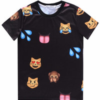 Black 3D Emoji Cat Monkey Print Short Sleeve Graphic T-shirt