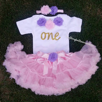 purple and pink first birthday outfit, first birthday outfit, first birthday girl outfit, purple birthday tutu, pink tutu, birthday dress