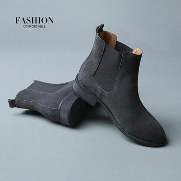Fashion Online 2017 Winter Chelsea Genuine Leather Women Boots Matte Platform Flat Women's Boot Shoes Black Grey Brown Ankle Boot Size 40 Zk2.5