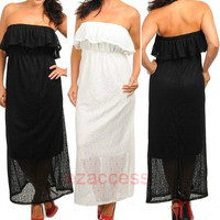 SeXy Womens Plus Size Dress Sheer Lace Strapless LonG MaXi SuMMeR SuN DReSS 1X3X