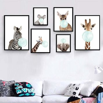 Cute Baby Animal Deer Zebra Poster&Print Modern Canvas Painting Nordic Wall Picture For Kids Nursery Bedroom Wall Art Home Decor