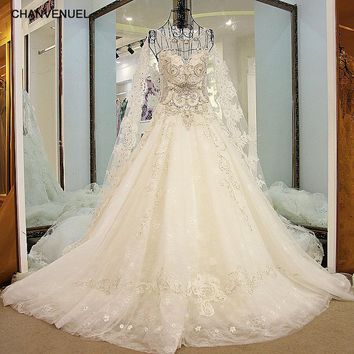 LS32100 Luxury Bridal Wedding Dress See Through Back Ball Gown Tulle Crystal Wedding Gown with Long Cape Ivory Real Photos