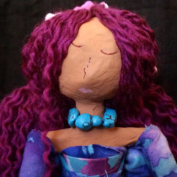 Danique - OOAK Mixed Media African American Art Doll Made from Recycled Material