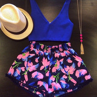Floral Print Crop Top& Shorts TwO Piece Set  9297