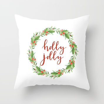Christmas wreath-holly jolly Throw Pillow by Sylvia Cook Photography