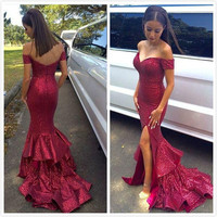 Bling Bling  Long Prom Dresses Off-Shoulder Zipper Back Side Split Rufffles Tiered Mermais Sweep train
