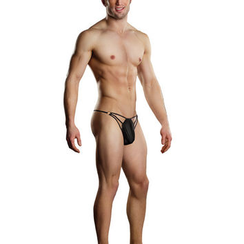 Male Power G-string W-straps & Rings Black S-m