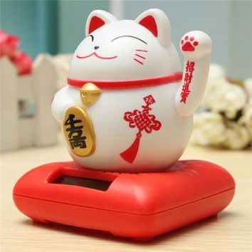 Solar Powered Maneki Neko Welcoming Lucky Beckoning Fortune Cat Decor