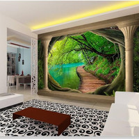 Custom 3d photo wallpaper non-woven room mural tree forest lake bridge column painting room sofa TV background wallpaper mural
