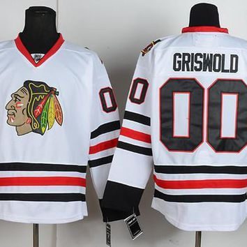 Throwback Chicago Blackhawks Jerseys #00 Clark Griswold Jersey White Vintage CCM Moive National Lampoon's Christmas Vacation Hockey Jersey