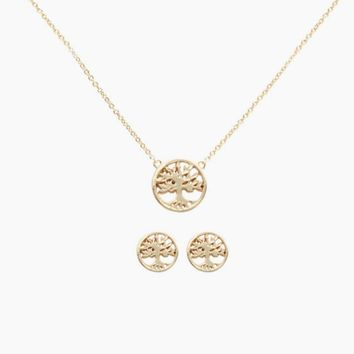 Tree Of Life Necklace & Earring Set - Gold