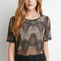 Eyelash Lace Overlay Top