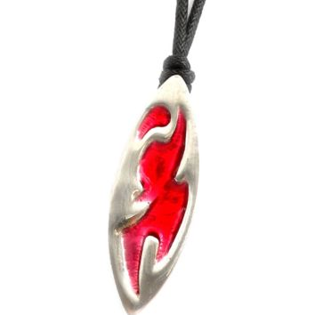 Abstract Surfboard Silver Pewter Charm Necklace Pendant Jewelry