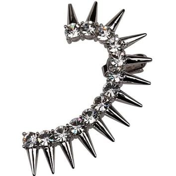 Women's Edgy Silver & Gold Crystal Spike Rockers Ear Cuff Earring