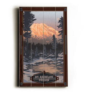 Personalized Mt. Bachelor Oregon Wood Sign