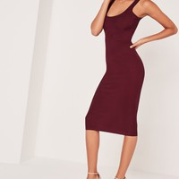 Missguided - Ribbed Sleeveless Midi Dress Purple