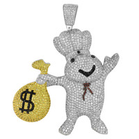 Pillsbury With Money Bag Iced Out Pendant White Gold Finish