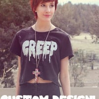 CUSTOM Grunge pastel goth dripping letters belly shirt crop top