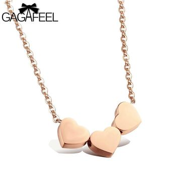 GAGAFEEL Exquisite Women Jewelry 3 Love Heart Simple Pendant Clavicle Necklace Gold Color Friendship Girlfriend Best Gifts N990