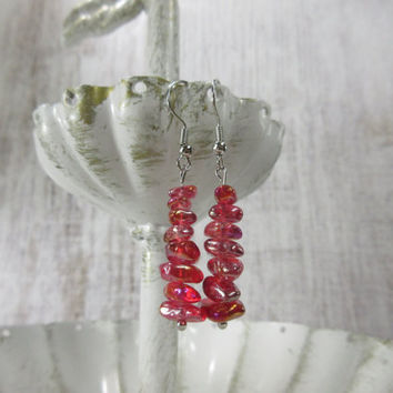 Red Bead Earrings, Red Glass Chip Beads