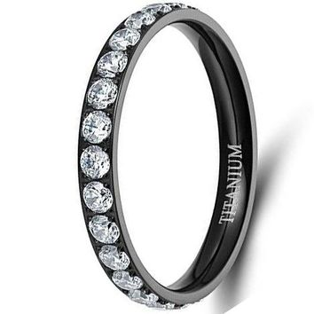 CERTIFIED 3mm Womens Titanium Eternity Rings Cubic Zirconia Wedding Engagement Band