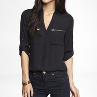 ZIP POCKET HALF PLACKET WOVEN TUNIC