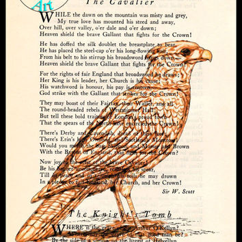 Brown Hawk Drawing Beautifully Upcycled Vintage Dictionary Page Book Art Print, Bird Art Print