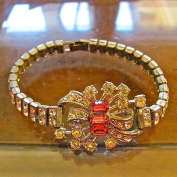 Antique Deco Style Prong Set Rhinestone Watch Band Bracelet with Pink Sapphire Embellishment