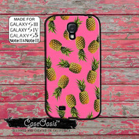 Pineapple Pattern Pink Cute Summer Tumblr Inspired Fruit New Custom Galaxy S5 and S4 and S3 Case and Galaxy Note 2 and Note 3 Case