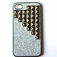 Silver sparkle Studded cellphone cover, Hard case, iPhone Cover, cover for Android,trendy, iPhone 4s, iPhone 4,