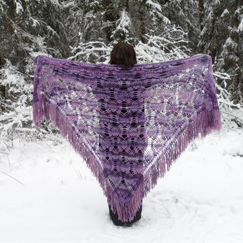Crochet Shawl, Handmade Triangle Shawl, Winter Accessory Lilac Lavender