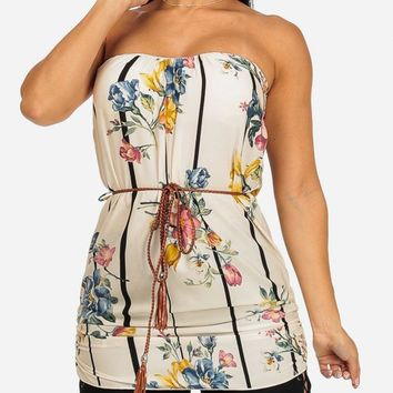Strapless Floral Striped Top