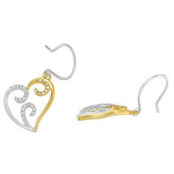 10k Two-tone Gold 1/4ct TDW Round Diamond Heart Dangle Earrings