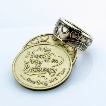 AA Sobriety My Heart is in Recovery coin ring, Bronze, Coin Jewelry, Unique Rings, Mens, Women, Band, Rings