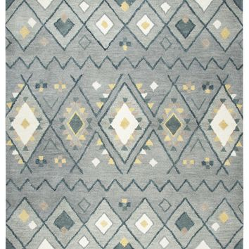 Rizzy Home Tumble Weed Loft TL646A Gray/Blue Tribal Motif Area Rug