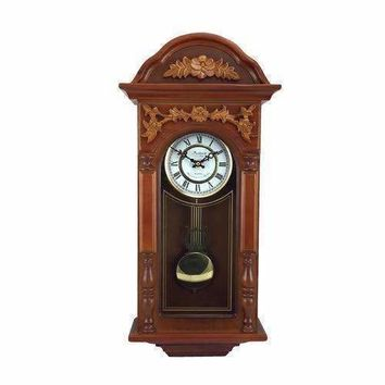 """Bedford Clock Collection 27.5"""" Antique Chiming Wall Clock with Roman Numerals in a  Padauk Oak Finish"""