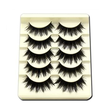 5Pairs/Set Professinal Black Natural Long Fake Eye Lashes Handmade Thick False Eyelashes Black Makeup Extension Tool