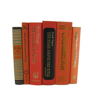 Orange Decorative Books, True Vintage Books with Cloth Covers
