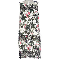 River Island Womens White floral print embroidered shift dress