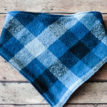 "Bandana Bib - Baby Boy -  Blue Plaid-""Babe's Blue Ox"""