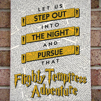 "Harry Potter Quote Canvas Wall Art: ""Let Us Step Out Into The Night and Pursue That Flighty Temptress Adventure"" Canvas Art"