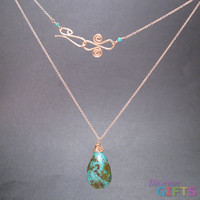 "Green marbled turquoise drop on chain, 18"" Necklace Gold Or Silver"