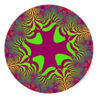 Summer Floral Cross Large Round Stickers