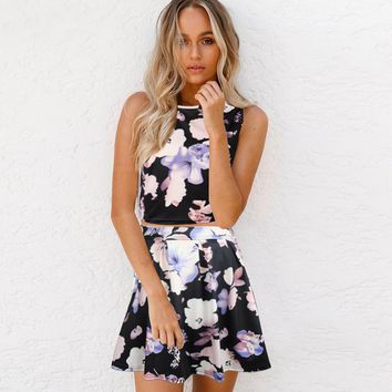 Fashion sexy print show thin sleeveless two piece dress-1